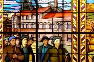 Scène minière de l'hôtel de ville de Carvin avec, en médaillon, la figure emblématique de Jean Jaurès (1859-1914)